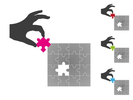 missing puzzle piece: Jigsaw puzzle in square format with one missing puzzle piece in 3D placed by a silhouette hand. Missing puzzle piece available in different colors.