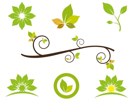 Green design and abstract elements based on leafs. Can be used for decoration purposes and for business purposes. Vector