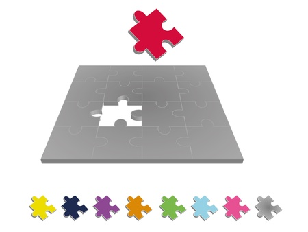 missing piece: Jigsaw puzzle in square format with one missing puzzle piece in 3D. Missing puzzle piece available in different colors.