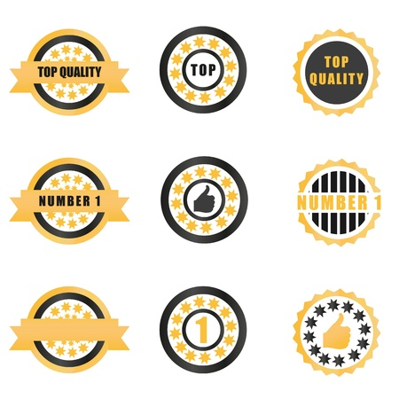 succes: A set of gold badges and medals with text illustration or associated icons in black, gold and white color