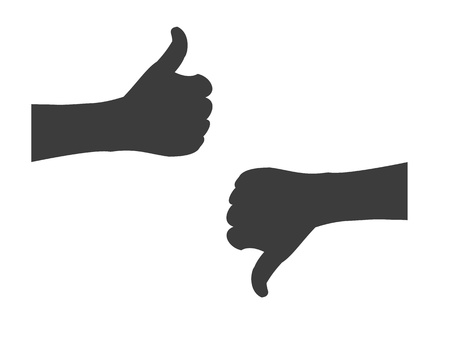 Silhouette hand holding thumbs up or thumbs down Vector