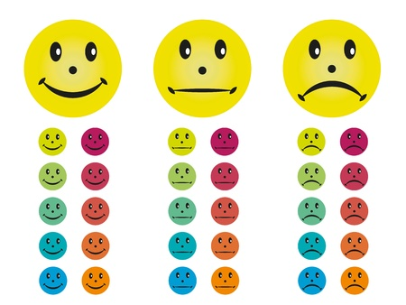 Smileys happy, neutral and unhappy in different colors. Vector