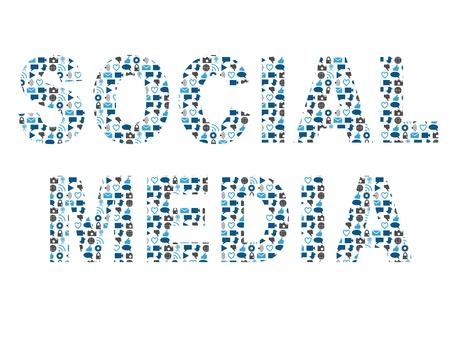 social networking: Parola social media riempito con i social media e le icone di social networking. Adatto per le presentazioni, le bandiere, le occasioni che d'affari, promozioni, pubblicit�, ecc