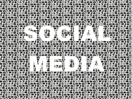 Social media typed in background with icon set covering social media and social networking items. Can be used for several occassions, from business to presentations, party, advertising, promotions, etc. Vector