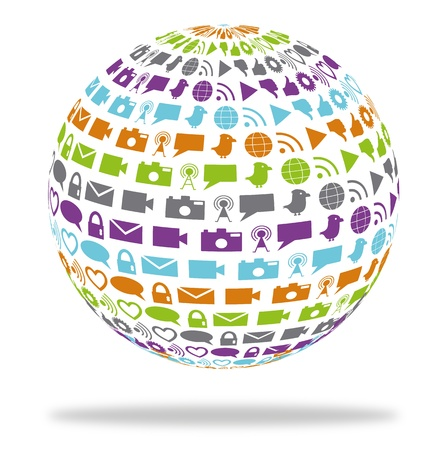 Globe filled with social networking and media icons in bright colors Vector
