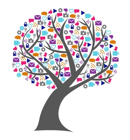 replaced: Social technology and media tree with the leafs replaced by small networking icons in bright colors