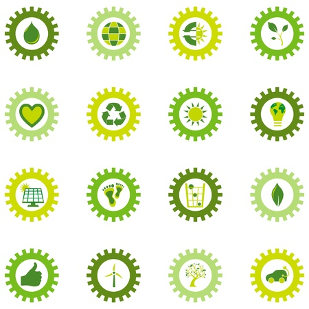 Set of icons of bio eco and environmental symbols placed in a gear wheel Vector