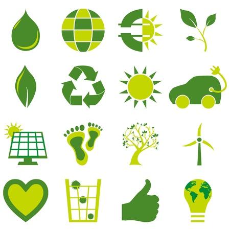 sixteen: Set of sixteen bio eco environmental related icons and symbols