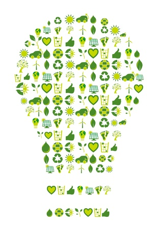 enlightment: Light bulb filled with bio eco environmental icons and symbols to be used as an inspiration source or enlightment