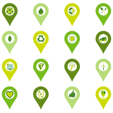 sostenibilit�: Set di sedici puntiformi icone di bio eco relativi simboli ambientali in quattro tonalit� di verde