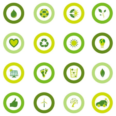sustainability: Set of sixteen round icons filled with bio eco environmental symbols in four shades of green