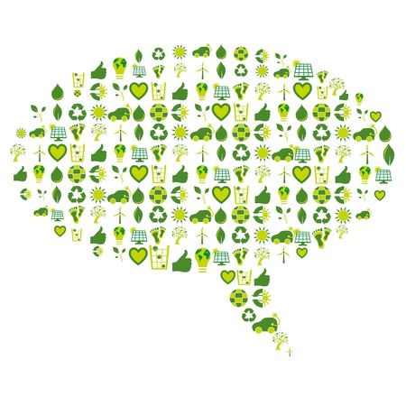 Speech bubble made of bio eco environmental related icons and symbols in four shades of green Vector