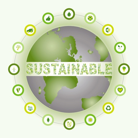 World showing the word Sustainable made out of bio eco environmental icons Vector