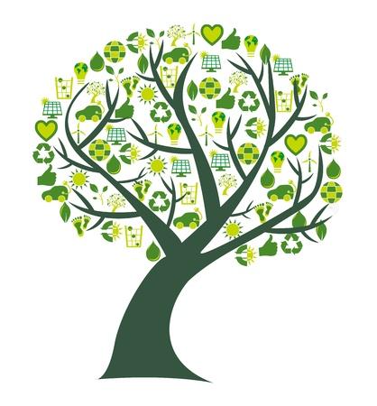 mani terra: Albero concettuale in cui le foglie sono sostituite da bio, eco e simboli ambientali e icone