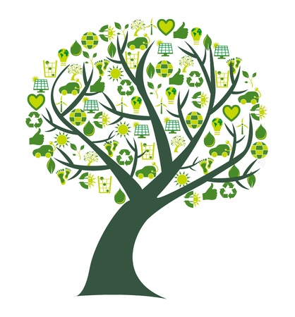 where: Conceptual tree where the leafs are replaced by bio, eco and environmental symbols and icons Illustration