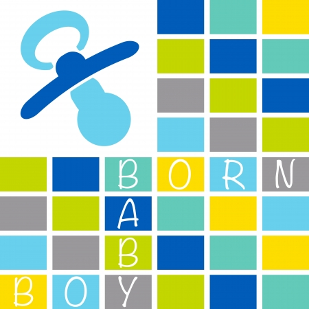 new born baby boy: Baby newborn greeting card with the text Baby Boy Born on a block pattern of blue, green, yellow and grey shades Illustration