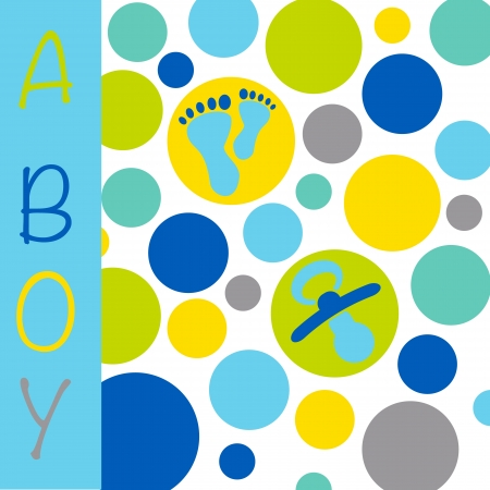 birth announcement: Baby newborn birth announcement card for a boy with blue, grey, purple and yellow circles with baby feet and a dummy
