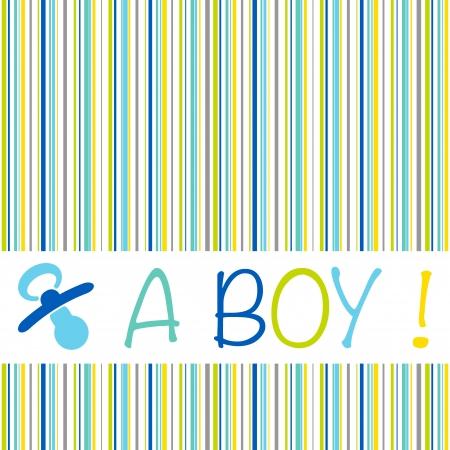Bébé carte d'annonce de naissance avec le texte un garçon sur un motif rayé de bleu, de vert, de jaune et les nuances de gris et une sucette Vecteurs