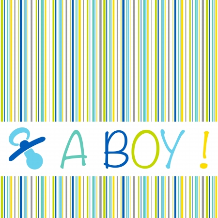 Baby birth announcement card with the text A Boy on a striped pattern of blue, green, yellow and grey shades and a pacifier Vector