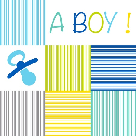 Baby birth announcement card with the text A Boy on a striped pattern of blue, green, yellow and grey shades and a pacifier Stock Vector - 20009021
