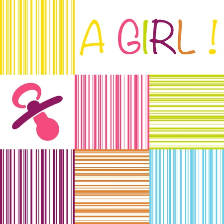 new born baby girl: Baby birth announcement card with the text A Girl on a striped pattern of pink, yellow, orange, blue and purple shades and a pacifier