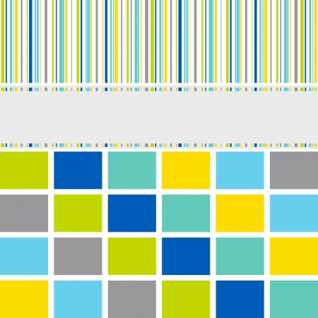 seasonal greetings: Greeting card background with symmetrical stripes, lines and blocks in blue, yellow, green and grey shades to be used for birth announcement, birthday, seasonal greetings, announcements and so on