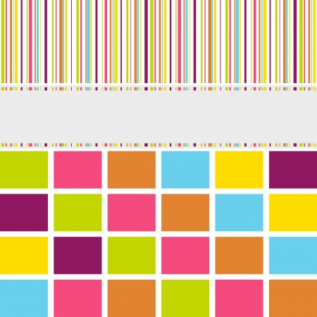 seasonal greetings: Greeting card background with symmetrical stripes, lines and blocks in pink, orange, blue, yellow, green and grey shades to be used for birth announcement, birthday, seasonal greetings, announcements and so on