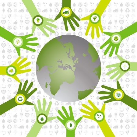 Set of hands in a circle pattern and filled with bio icons waiving to a green environmental and sustainable world Stock Vector - 20009039