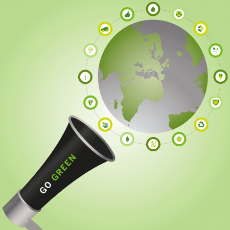 Megaphone calling for Go Green to make a sustainable and eco friendly world that is surrounded with bio icons Vector