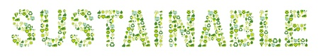 Word Sustainable filled with eco friendly, environmental and bio related icons Vector