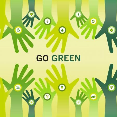 sostenibilit�: Le mani decorate con l'icona di un bio e tifo lo slogan Go Green per un eco compatibile e sostenibile del mondo, d'affari o la visione Vettoriali