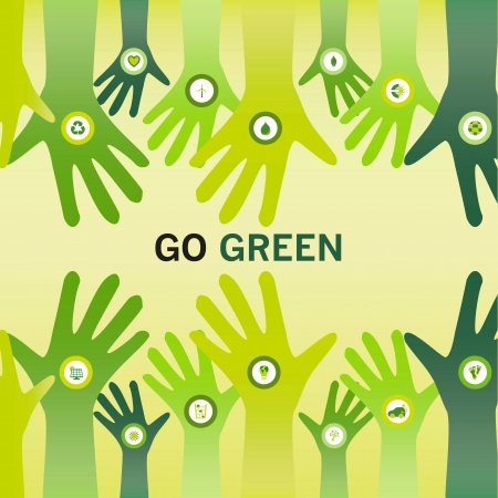 eco slogan: Manos decoradas con un icono de bio y animando el lema Va el verde para un mundo sostenible y amigable eco, de negocios o de la visi�n
