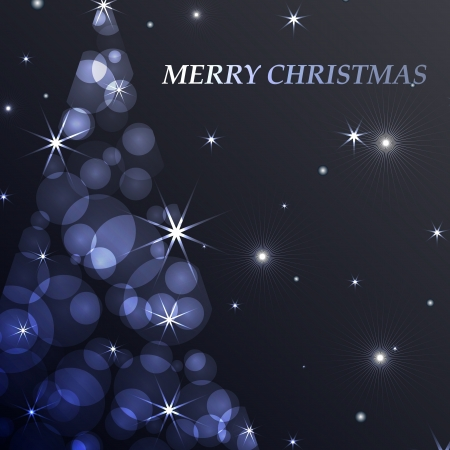christmas tree purple: Seasonal background and card for new year and christmas decorated with a abstract christmas tree filled with glowing lights and decorated with stars and planets Illustration