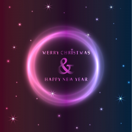 seasonal greetings: Seasonal greetings with the text Merry Christmas and Happy New year in a neon style circle and surrounded with stars and planet in pink, purple and blue shades