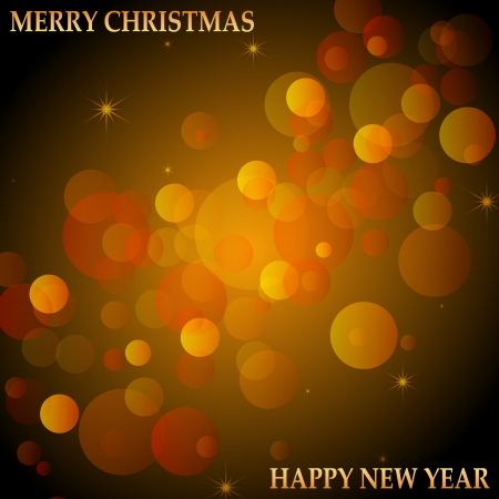 seasonal greetings: Seasonal greetings with the text Merry Christmas and Happy New year on a bokeh background with some star accents in red, brown and orange shades