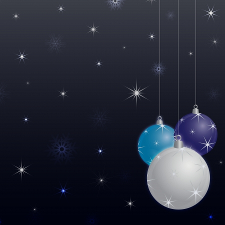 decoratio: Seasonal background for new year and christmas decorated with three christmas balls in white, blue and purple on a dark background filled with stars and snowflakes Illustration