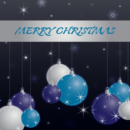 decoratio: Seasonal greetings with the text Merry Christmas on a dark blue background decorated with hanging white, purple and blue christmas balls and surrounded by snowflakes and stars