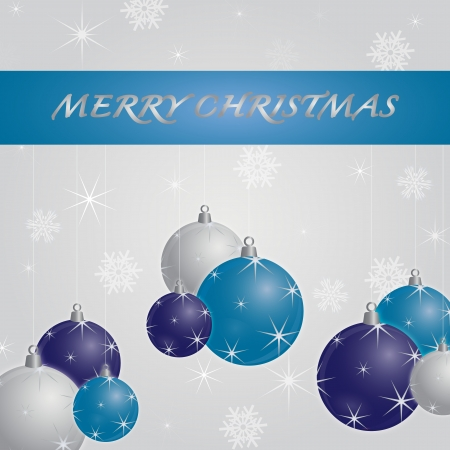 decoratio: Seasonal background for new year and christmas decorated with three christmas balls in white, blue and purple on a white background filled with stars and snowflakes