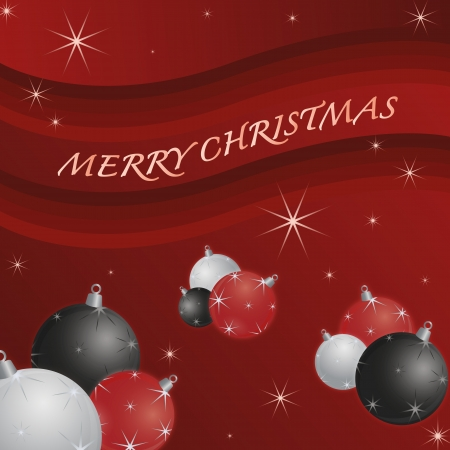 decoratio: Seasonal background for new year and christmas decorated with a number of hristmas balls in white, red and black on a red background filled with stars and snowflakes Illustration