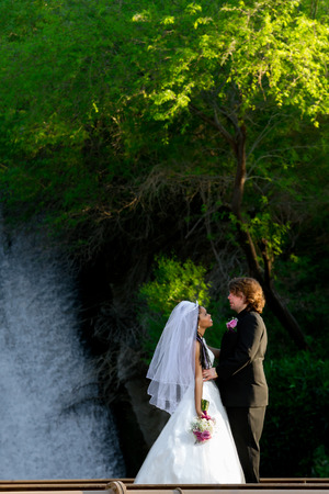 gazing: A bride and groom stand gazing at each other while standing in front of a waterfall.