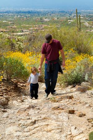 父と彼の若い息子は、ツーソン、アリゾナ州の砂漠の山までハイキングします。 彼らは手を保持しています。