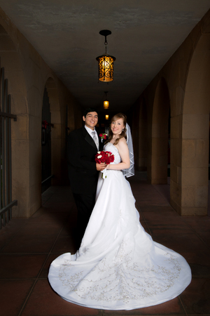 formal portrait: A formal portrait of a bride and groom on their wedding day.