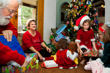 chaos: Grandparents and their grandchildren sit on a living room floor in front of a big, decorated, Christmas tree and unwrap Christmas presents.
