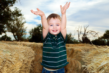 An excited little boy raises his hands in the air.  He has found the end of a hay maze at a Fall festival. Stock Photo