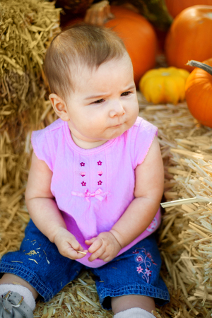 A baby girl sits with a serious expression on a hay bale in a pumpkin patch. Stock Photo