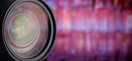 Camera Lens with bokeh background and reflection. Professional photography equipment. Banco de Imagens
