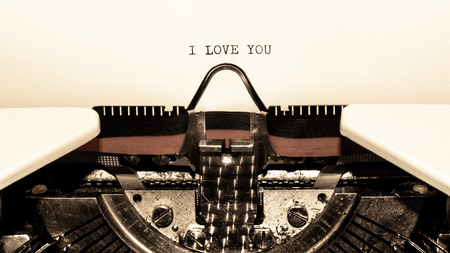 Old typewriter with text I LOVE YOU vintage