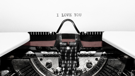 Old typewriter with text I LOVE YOU