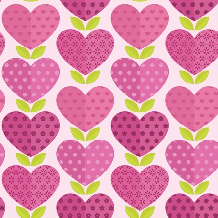Seamless patterns with flowers, hearts and leaves for valentines day Vector