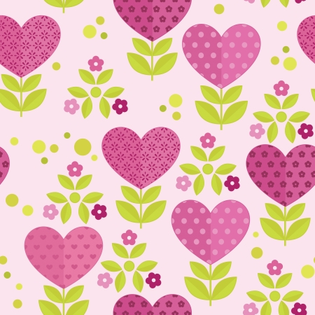 Seamless patterns with flowers, hearts and leaves for valentines day Illustration